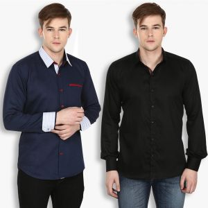 Buy Stylox Mens Cotton Navy Blue-black Casual Shirt (pack Of 2) (code - Sht-2cmbo-027-38) online