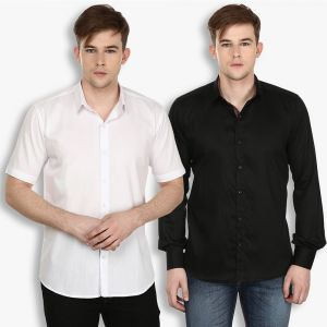Buy Stylox Mens Cotton White-Black Casual Shirt online