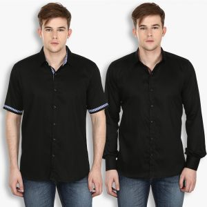 Buy Stylox Mens Cotton Black Casual Shirt (pack Of 2) (code - Sht-2cmbo-034-38) online