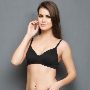 44adff8f96 Buy Clovia Cotton Rich Non Padded Wirefree T-shirt Bra In Black Br0244p13  online