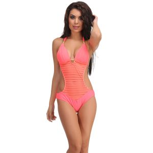 Buy Clovia Orange Polyamide Monokini Swimsuit With Jacquard Stripes -(product Code- Sm0016p16) online