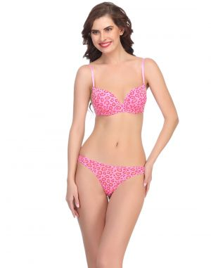 Buy Clovia Sexy Push Up Bra And Thong In Pink online