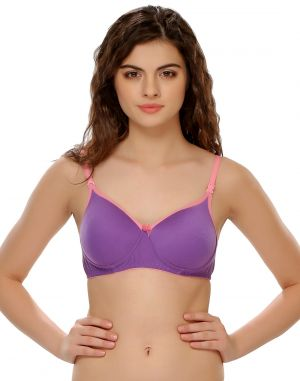 Buy Clovia Cotton Blend Padded Non-wired T-shirt Bra (product Code - Br0262p12 ) online