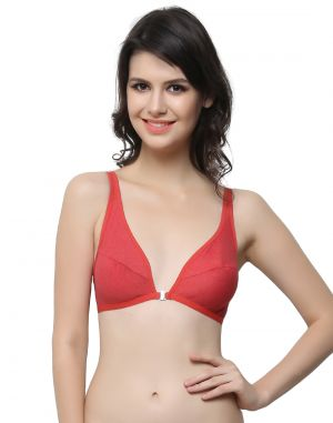Buy Clovia Cotton Blended Plunge Neck Front Open Bra In Cotton Blend online