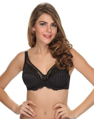 Buy Clovia Powernet, Lace Lace Bra With Underwired Moulded Cups  In Black online