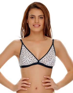 Buy Clovia Cotton Blended Comfy Everyday Printed Cotton Bra online
