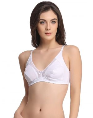 Buy Clovia Comfy Stretchable Cotton Bra In White Br0384p18 online