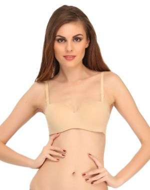 Buy Clovia Lightly Padded Strapless T-shirt Bra In Beige Br0457p24 online