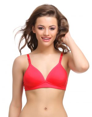 Buy Clovia Cotton Padded T-Shirt Bra In Red With Detachable Straps online