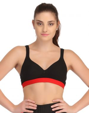 Buy Clovia Padded Sports Bra In Black With Red Broad Elastic online