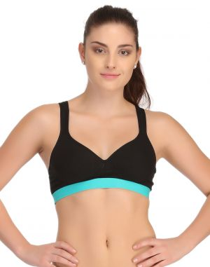 Buy Clovia Padded Sports Bra In Black With Green Broad Elastic online