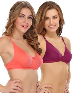 Buy Clovia Cotton Soft Cup Bra In Purple & Reddish Pink Brc019p20 online
