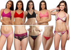Buy Clovia Set Of 10 PCs Bra & Panty In Multi Color online