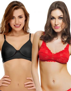 Buy Clovia 100% Blended Multicolor Pack Of 2 Bras-(product Code-combobr07) online
