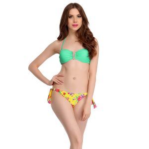 Buy Clovia 2 Piece Polyamide Swimsuit Of Padded Bra & Printed Brief In Aqua -(product Code- Sm0015p03) online