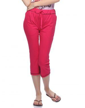 Buy Clovia Soft Cotton Comfy Capri In Hot Pink Lb0018p14 online