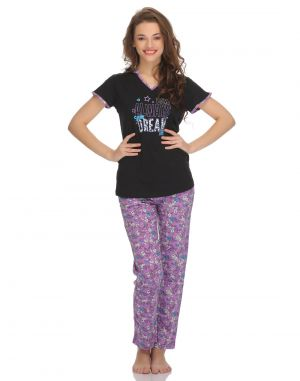 Buy Clovia Cotton T-Shirt And Pyjama Set In Purple online