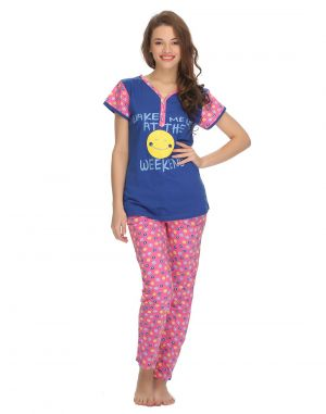 Buy Clovia Cotton T-shirt And Pyjama Set In Blue Ls0005p03 online