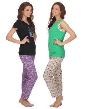 Buy Clovia Cotton T-shirt And Pyjama Set In Green & Purple -(product Code- Lsc003p90) online