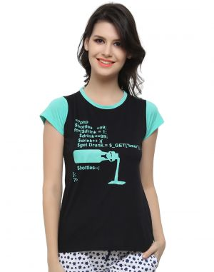 Buy Clovia Cotton Blended Trendy Graphic T-Shirt In Cotton online
