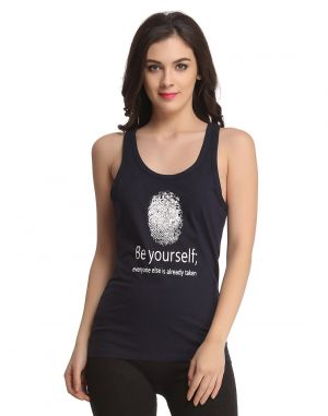 Buy Clovia Cotton Tank Top In Navy online