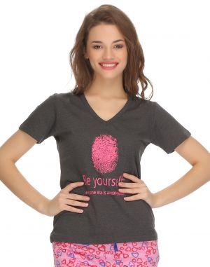 Buy Clovia Cotton Trendy Graphic T-shirt In Cotton (product Code - Lt0060p05 ) online