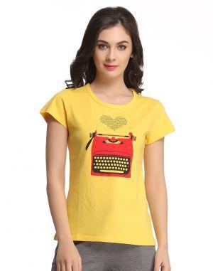 Buy Clovia Trendy Graphic T-shirt In Cotton Lt0070p02 online