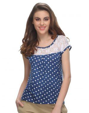 Buy Clovia Cotton Polka Top With Lace Yoke Lt0090p08 online