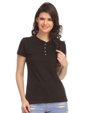 Buy Clovia Cotton Comfy T-shirt In Black Lt0101p13 online