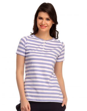 Buy Clovia Cotton Comfy Striped T-shirt Lt0102p08 online