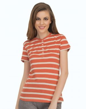 Buy Clovia Cotton Comfy Striped T-Shirt In Orange online