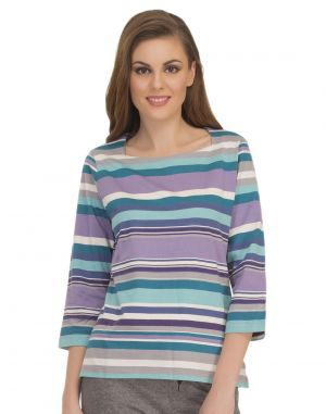 Buy Clovia Colourful Stripe T-shirt With Square Neckline Lt0104p03 online