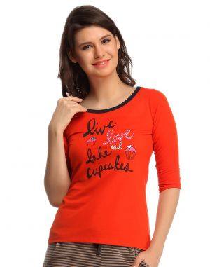 Buy Clovia Cotton Comfy T-Shirt In Orange online