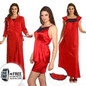 Buy Cloe Pack Of 5 Premium Satin Nightwear In Red Code - (ns0271e04) online