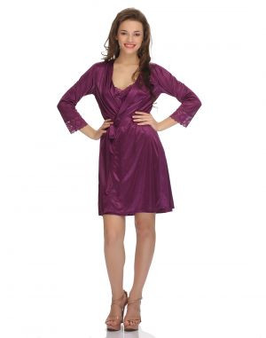 Buy Clovia Blended Satin & Nylon Lace 2 Pcs Set Of Nightslip And Robe online