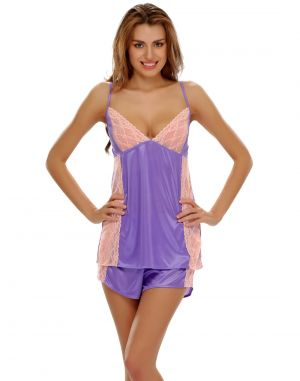 Buy Clovia Purple Cami And Shorts With Lace online