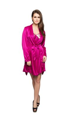 Buy Clovia Set Of Printed Short Robe And Nighty In Pink Code - (ns0323p14) online