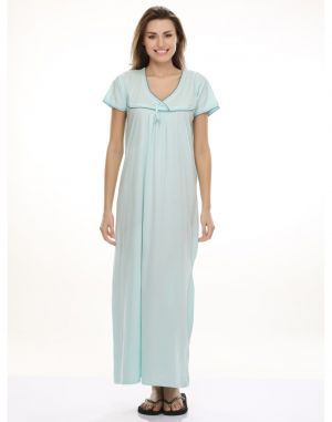 Buy Clovia Sea Blue Soft Long Nighty Ns0398p03- Free Size online