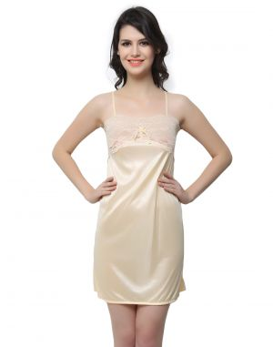 Buy Clovia Satin, Lace Sexy Babydoll In Beige (product Code - Ns0406p24 ) online
