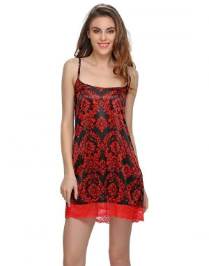 Buy Clovia Black And Red Short Nightdress Ns0421p13 online