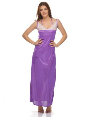 Buy Clovia Polysatin Glossy Purple Satin Long Nightwear online