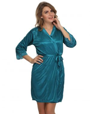 Buy Clovia Satin, Lace Short Nightie & Robe Set In Teal Green - 2 PCs (product Code - Ns0435p17 ) online