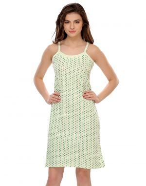 0e4e319d30 Buy Clovia Light Green Spaghetti Short Nighty With Polka Dots Ns0436p11-  Free Size online