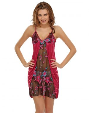 Buy Clovia Sexy Babydoll With Sheer Laces In Wine online