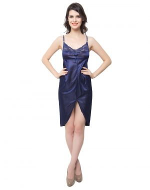 Buy Clovia Polysatin, Lace Lacy Short Nightdress In Navy Blue online