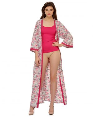 Buy Clovia Crepe Classic Floral Printed Full Length Robe online