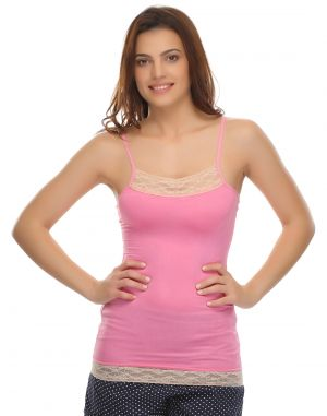 Buy Clovia Cotton Blended Soft Cotton Lacy Camisole In Pink (product Code - Ns0488p22 ) online