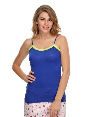 Buy Clovia Soft Cotton Lacy Camisole In Blue Ns0489p08 online