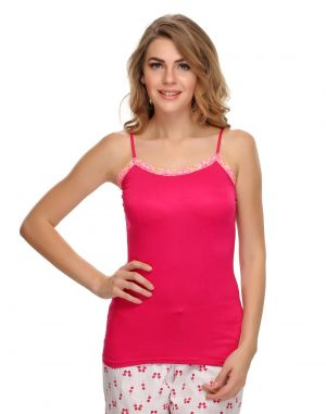 Buy Clovia Soft Cotton Lacy Camisole In Pink online