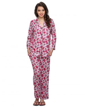Buy Clovia Two Piece Night Suit In Floral Print Ns0505p14 online